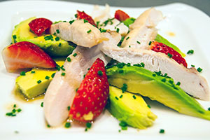 Chicken, strawberry and avocado salad