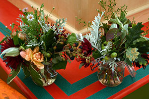 Flower displays with autumn cuttings