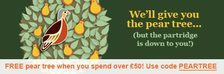 Free pear tree when you spend £50 - use code PEARTREE