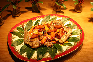 Pheasant with caramelised apples and cider sauce